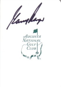 Gary Player autographed Augusta National Masters scorecard