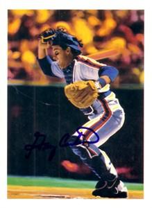 Gary Carter autographed New York Mets 1989 5x7 artwork postcard