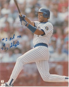 Gary Sheffield autographed Milwaukee Brewers vintage 8x10 photo inscribed #1 Pick 1986
