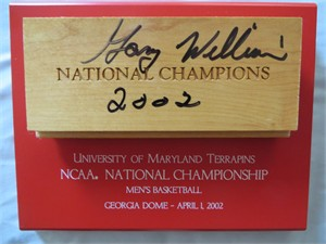 Gary Williams autographed Maryland Terrapins 2002 NCAA National Championship basketball floorboard plaque