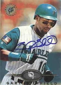 Gary Sheffield autographed Florida Marlins 1995 Stadium Club card