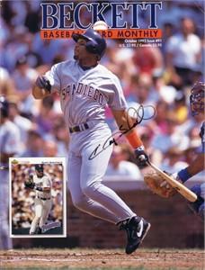 Gary Sheffield autographed San Diego Padres 1992 Beckett Baseball magazine cover