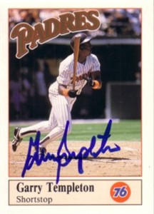 Garry Templeton autographed San Diego Padres 1990 Unocal 76 card