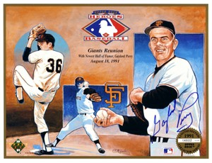 Gaylord Perry autographed San Francisco Giants 1991 Upper Deck card sheet