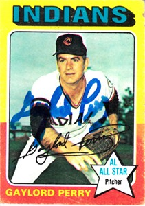 Gaylord Perry autographed Cleveland Indians 1975 Topps card (MLB authenticated)