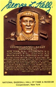 George (Highpockets) Kelly autographed Baseball Hall of Fame plaque postcard