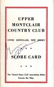 Gene Littler autographed Upper Montclair Country Club 1960s golf scorecard