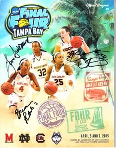 Geno Auriemma & Breanna Stewart autographed 2015 NCAA Women's Final Four program