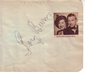 George Burns & Barbara Stanwyck autographed autograph album or book page