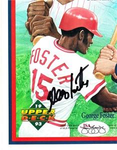 George Foster autographed 1993 Upper Deck card sheet cut signature JSA
