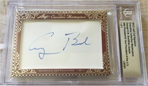 George H.W. Bush & Dan Quayle certified autograph 2012 Leaf Executive Masterpiece Dual Cut Signature card #1/1