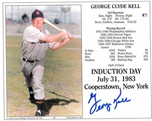 George Kell autographed Detroit Tigers 8x10 Baseball Hall of Fame photo card