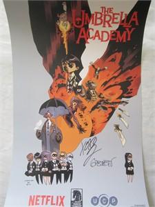 Gerard Way & Gabriel Ba autographed Umbrella Academy 2017 Comic-Con poster