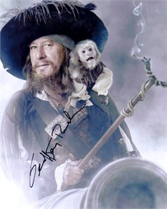 Geoffrey Rush autographed Pirates of the Carribean Barbossa 8x10 photo