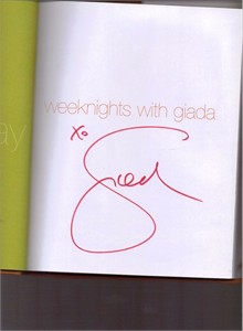 Giada De Laurentiis autographed Weeknights with Giada hardcover cookbook