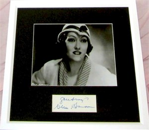 Gloria Swanson autograph matted & framed with 8x10 portrait photo