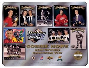 Gordie Howe autographed Detroit Red Wings Upper Deck card sheet