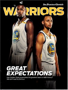 Golden State Warriors 2016-17 GREAT EXPECTATIONS San Francisco Chronicle commemorative magazine (Steph Curry Kevin Durant)