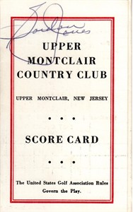 Gordon Jones autographed Upper Montclair Country Club 1960s golf scorecard