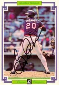 Gorman Thomas autographed 1984 Donruss Champion jumbo card