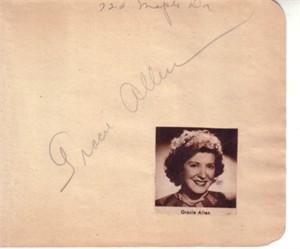 Gracie Allen autographed autograph album or book page