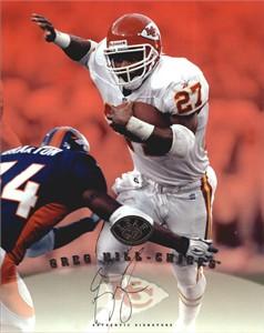 Greg Hill certified autograph Kansas City Chiefs 1997 Leaf 8x10 photo card