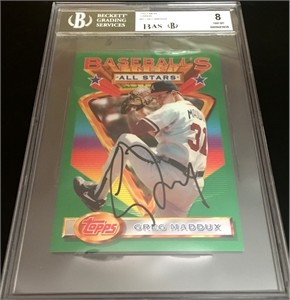 Greg Maddux autographed Atlanta Braves 1993 Topps Finest jumbo card Beckett Authenticated BGS graded 8 NrMt-Mt