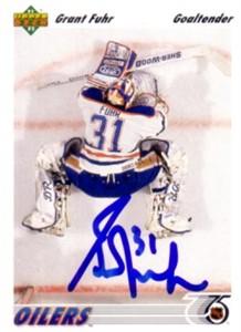 Grant Fuhr autographed Edmonton Oilers 1991-92 Upper Deck card