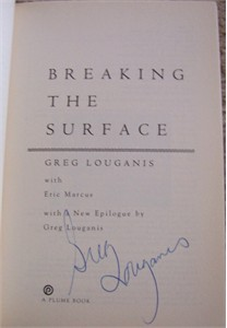 Greg Louganis autographed Breaking the Surface softcover book