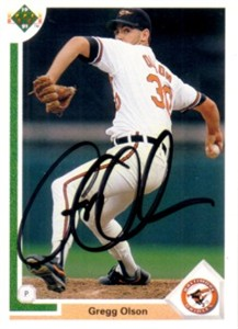 Gregg Olson autographed Baltimore Orioles 1991 Upper Deck card