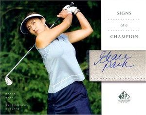 Grace Park certified autograph 2004 SP Signature Golf 8x10 photo card