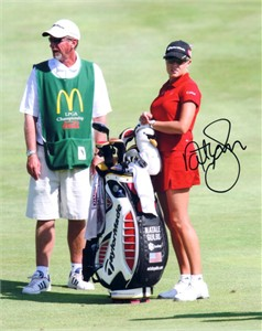 Natalie Gulbis autographed 8x10 LPGA Championship photo with caddy