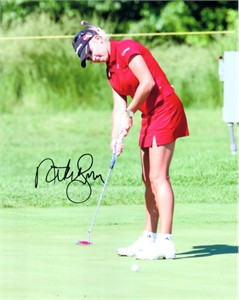 Natalie Gulbis autographed 8x10 LPGA putting action photo
