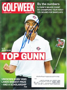 Gunn Yang autographed 2014 U.S. Amateur Golfweek magazine