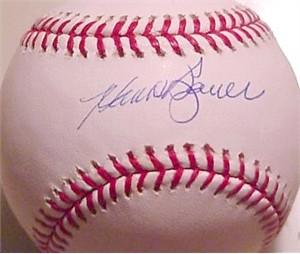 Hank Bauer autographed American League baseball