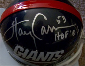 Phil Simms & Harry Carson autographed New York Giants throwback mini helmet