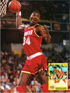 Hakeem Olajuwon autographed Houston Rockets Beckett Basketball back cover photo