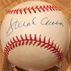 Hank Aaron autographed MLB baseball