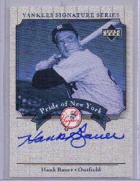 Hank Bauer certified autograph New York Yankees 2003 Upper Deck card
