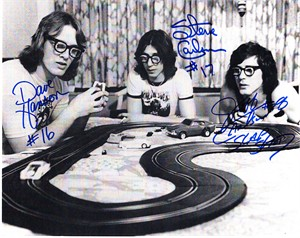 Hanson Brothers (Dave Hanson Steve Carlson Jeff Carlson) autographed Slap Shot 8x10 photo playing with toy cars