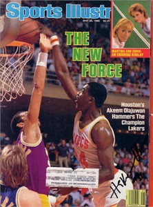 Hakeem Olajuwon autographed Houston Rockets 1986 Sports Illustrated