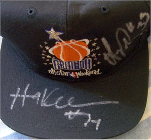 Hakeem Olajuwon & Otis Thorpe autographed 1992 NBA All-Star Game cap or hat