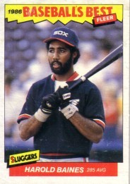 Harold Baines Chicago White Sox 1986 Fleer Sluggers vs Pitchers box bottom card