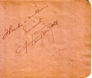 Harry von Zell autographed autograph album or book page