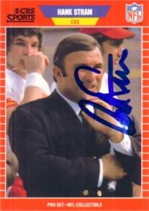 Hank Stram autographed Kansas City Chiefs 1989 Pro Set card