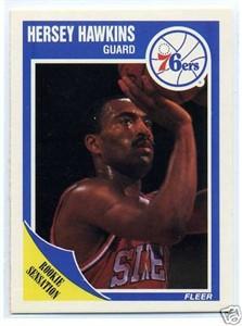 Hersey Hawkins Philadelphia 76ers 1989-90 Fleer Rookie Card #117