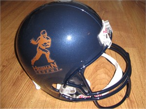 Heisman Trophy logo full size Riddell football helmet (navy blue with gold decals) NEW