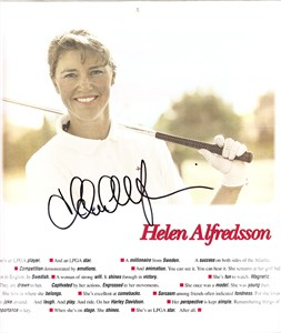 Helen Alfredsson autographed 1996 LPGA calendar page photo