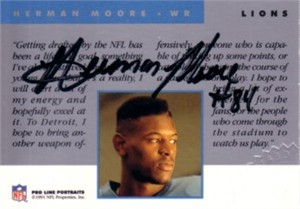 Herman Moore certified autograph Detroit Lions 1991 Pro Line card