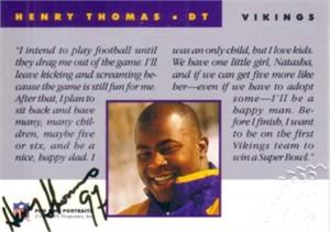 Henry Thomas certified autograph Minnesota Vikings 1992 Pro Line card